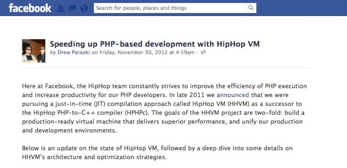 Speeding up PHP-based development with HipHop VM