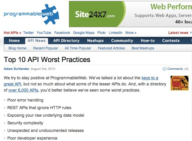 Top 10 API Worst Practices