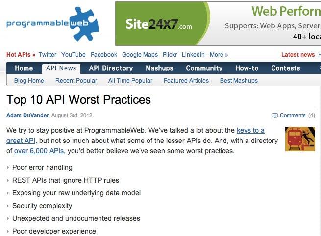 Top 10 API Worst Practices