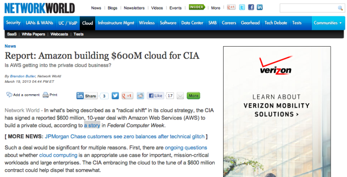 Report_ Amazon building $600M cloud for CIA - Network World